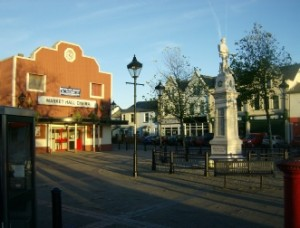 The Market Square in Brynmawr. Visible are the Cinema and War Memorial